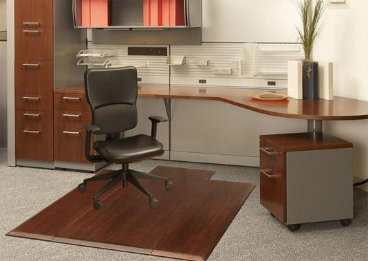 dark cherry bamboo office chair mats $335.00 tri-fold model
