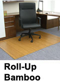 Rectangle chair mat by Anji Mountain Bamboo Rug Co.  These mats are made of natural bamboo and make an attractive peice of furniture for your office.