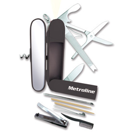 The ultimate grooming multi-tool for a guy, the Metroline pocket-knife, by the makers of the Miss A Kit, Miss Army Knife!